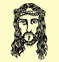jesus face vector image vector image