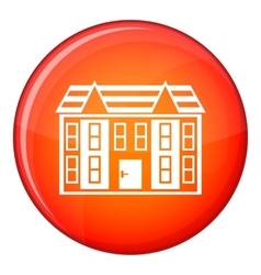 Large two-storey house icon flat style vector