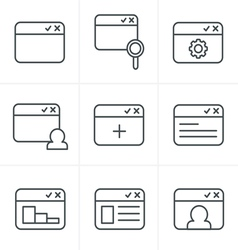 Line Icons Style browser icon set vector image vector image