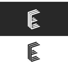 Logo e letter initial monogram emblem isometric vector
