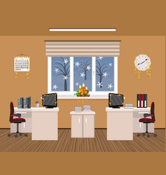 Office room interior christmas design with vector