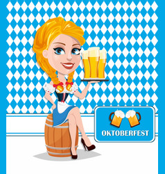 oktoberfest flyer with sexy redhead girl sitting vector image vector image