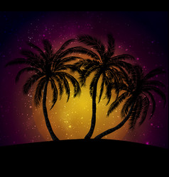 Palms silhouettes at orange sunset sk vector