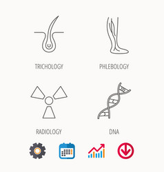 Phlebology trichology and dna icons vector