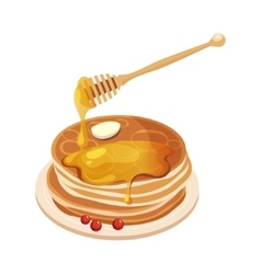 Pile of pancakes with honey dipper cartoon vector