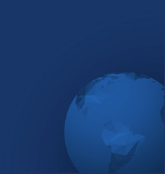 polygonal globe template on dark blue background vector image vector image