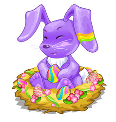purple bunny sitting in basket with easter eggs vector image vector image