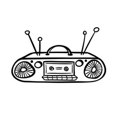 Retro device - old tape recorder vector