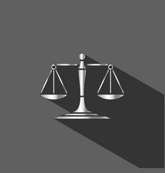 Silver scales of justice icon with shadow on dark vector
