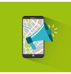 Smartphone with megaphone icon vector