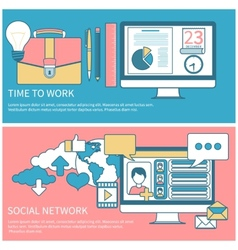 Social network and time to work vector image vector image