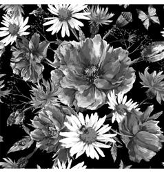 Vintage monochrome watercolor bouquet of vector image vector image