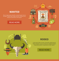 Wanted bandit and rodeo banners vector