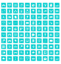 100 network icons set grunge blue vector image vector image