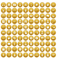100 smuggling icons set gold vector