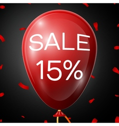 Red baloon with 15 percent discountsover black vector