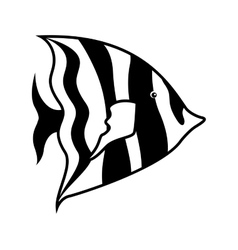 Monochrome silhouette with sea fish to striped vector