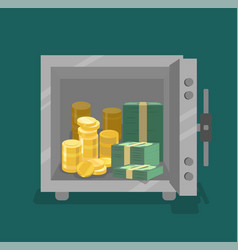 opened safe with coins and cash in front view vector image