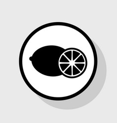Fruits lemon sign  flat black icon in vector