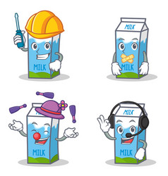Set of milk box character with automotive silent vector
