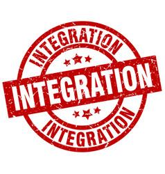 Integration round red grunge stamp vector