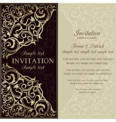 Orient invitation dark brown and beige vector