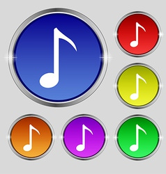 Music note icon sign round symbol on bright vector