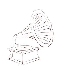 Sketched gramophone vector