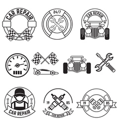 Car repair line labels vector