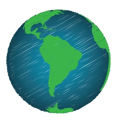 Earth sketch hand draw focus south america vector