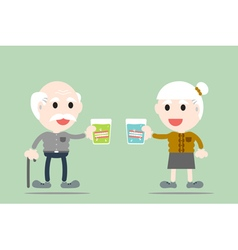Grandparent are holding denture in glass vector