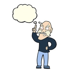 Cartoon old man laying down rules with thought vector
