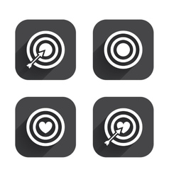 Target aim icons darts board signs symbols vector