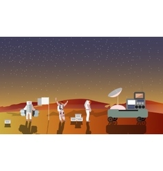 Astronauts on mars concept vector