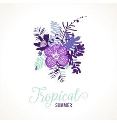 Tropical summer card design vector image