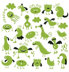 Set of little green monsters vector