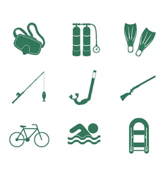 Set of sport and recreation icons vector
