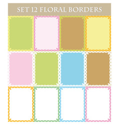 Set twelve floral borders on white and colorful vector
