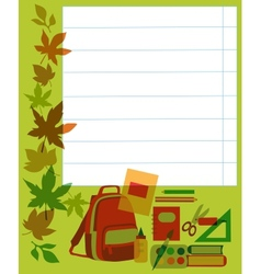 Back to school School notebook with supplies vector image vector image