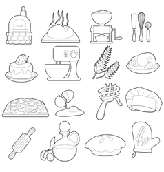 Bakery production icons set outline cartoon style vector