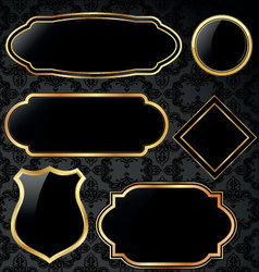 black and gold vintage frames vector image vector image