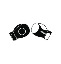 Boxing gloves black simple icon vector