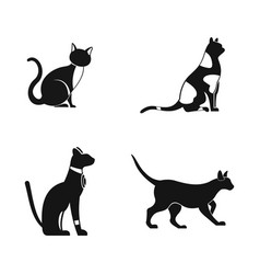 cat icon set simple style vector image vector image