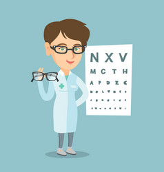 caucasian ophthalmologist holding eyeglasses vector image