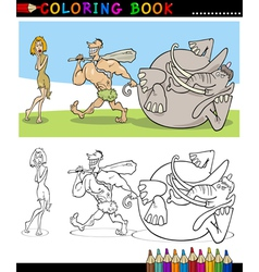 Cavemen Family Couple for coloring vector image vector image
