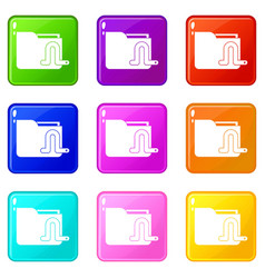 Computer worm icons 9 set vector