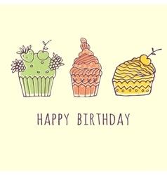 delicious cakes vector image vector image