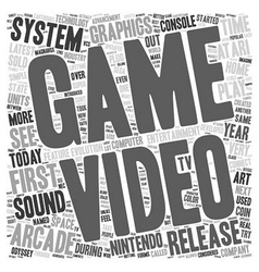 first video game system 1 text background vector image vector image