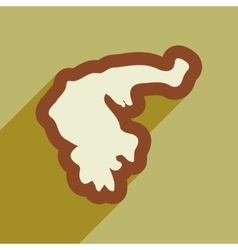 Flat web icon with long shadow map of greece vector