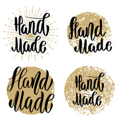 hand made set of hand drawn lettering emblems vector image